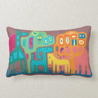 Ethnic art African animals mushroom background Throw Pillow