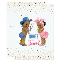 Ethnic Babies Boots Or Bows Gender Reveal Card