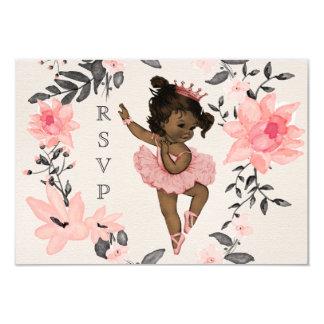 Ethnic Baby Ballerina Watercolor Wreath RSVP Card