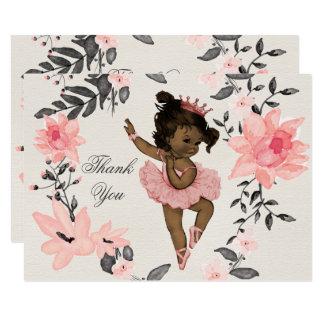 Ethnic Baby Ballerina Watercolor Wreath Thank You Card