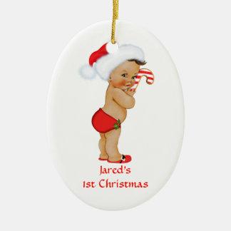 Ethnic Baby Boy First Christmas Red Santa Hat Ceramic Ornament
