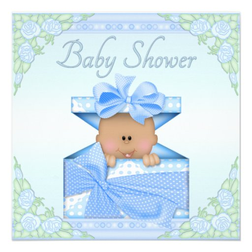Gift Box Baby Shower Invitations : Ethnic baby boy in gift box and roses shower