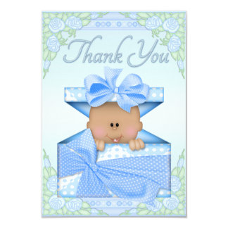 Ethnic Baby Boy in Gift Box and Roses Thank You Card