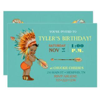 Ethnic Baby Boy Native Tribal Headdress Moccasins Card