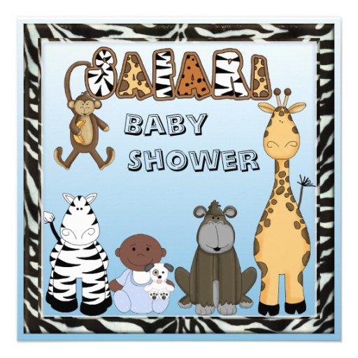 Ethnic Baby Boy & Safari Animals Baby Shower Announcement