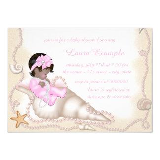 Ethnic Baby Girl Beach Baby Shower Card