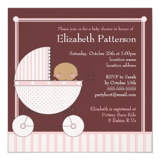 Ethnic Baby Girl in Carriage Baby Shower in Pink Card