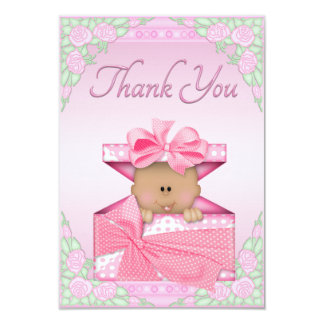 Ethnic Baby Girl in Gift Box and Roses Thank You Card