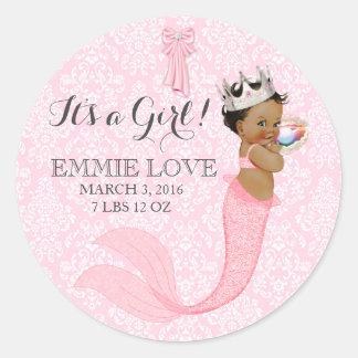 Ethnic Baby Girl Mermaid Princess Crown Classic Round Sticker