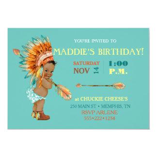 Ethnic Baby Girl Native Tribal Headdress Moccasins Card