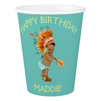 Ethnic Baby Girl Native Tribal Headdress Paper Cup