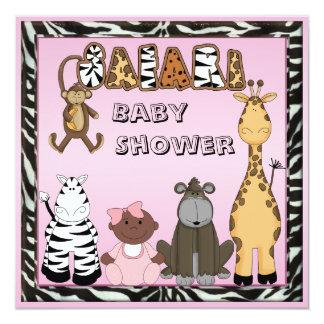 Ethnic Baby Girl & Safari Animals Baby Shower Card