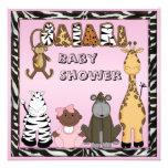 Ethnic Baby Girl & Safari Animals Baby Shower Personalized Invitations