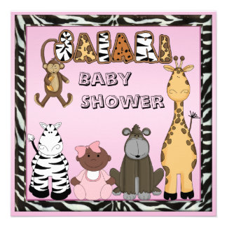 Ethnic Baby Girl Safari Animals Baby Shower Personalized Invitations
