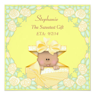 Ethnic Baby in Gift Box Neutral Yellow Baby Shower Card