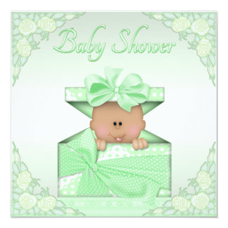 Ethnic Baby in Green Gift Box Roses Baby Shower Card