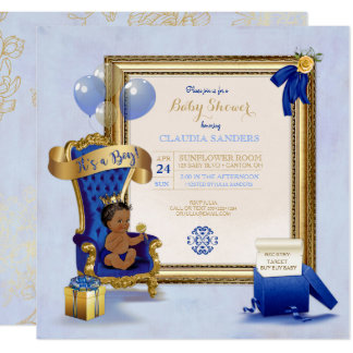 Ethnic Baby Little Prince Crown Gold Royal Blue Card