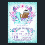 "Ethnic Baby Mermaid Baby Shower Invitation<br><div class=""desc"">Ethnic mermaid baby shower invitations with adorable African American mermaid draped in pearls on a beautiful lavender purple and teal blue under the sea background with sea horses and sea shells. These mermaid baby shower invitations are easily customized for your event by simply adding your details. You can also change...</div>"