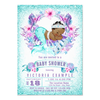 Ethnic Baby Mermaid Baby Shower Invitation
