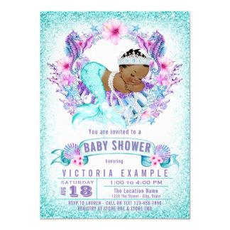 Ethnic Baby Mermaid Baby Shower Invitation  How To Word A Baby Shower Invitation