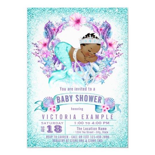 Ethnic baby mermaid baby shower invitation zazzle ethnic baby mermaid baby shower invitation filmwisefo