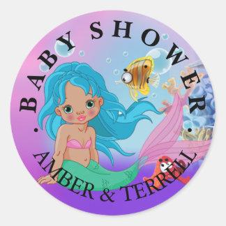 Ethnic Baby Mermaid Underwater Fantasy Baby Shower Classic Round Sticker