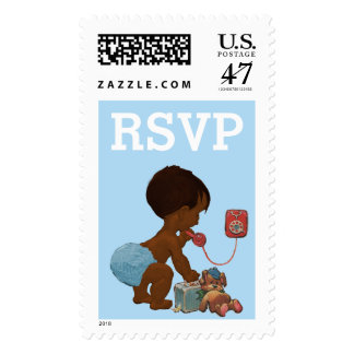 Ethnic Baby on Phone Baby Shower RSVP Postage