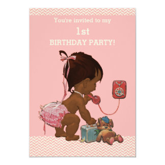 Ethnic Baby on Phone Pink Chevrons 1st Birthday Card