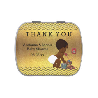 Ethnic Baby on Phone Thank You Favor Jelly Belly Tin