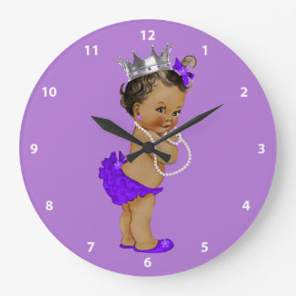Ethnic Baby Princess and Pearls Purple Large Clock