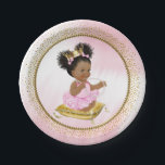 "Ethnic Baby Princess Baby Shower Paper Plates<br><div class=""desc"">Princess baby shower paper plates with adorable princess baby girl wearing a pretty pink tutu and string of pearls sitting on a gold pillow on a beautiful pink and gold background. These cute princess baby shower paper plates are easily customized with text. You can also move the baby and pillow...</div>"