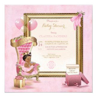 Ethnic Baby Princess Crown Gold Pink Royal Card