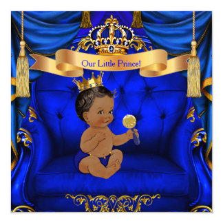 Ethnic Baby Shower Boy Prince Royal Blue Gold Card