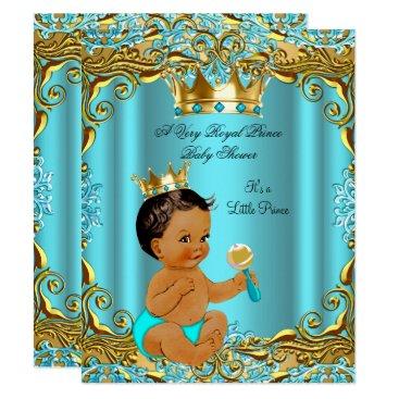 VintageBabyShop Ethnic Baby Shower Prince Gold Teal Aqua Card