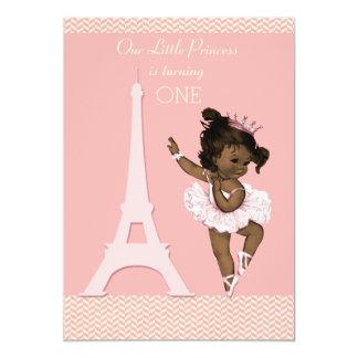 Ethnic Ballerina Eiffel Tower Chevron 1st Birthday Card