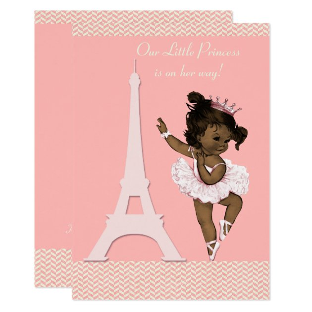 Ethnic Ballerina Eiffel Tower Chevrons Baby Shower Card