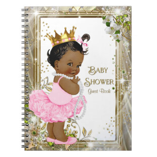 Ethnic Ballerina Princess Baby Shower Guest Book Notebook