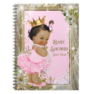 Ethnic Ballerina Princess Baby Shower Guest Book Spiral Note Book