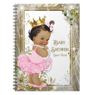 Ethnic Ballerina Princess Baby Shower Guest Book Spiral Notebook