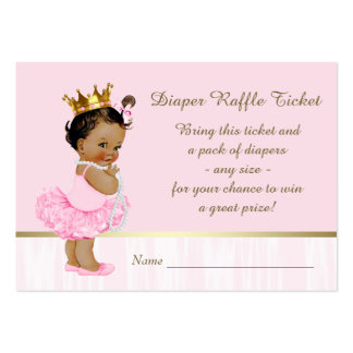 Ethnic Ballerina Princess Diaper Raffle Ticket Large Business Cards (Pack Of 100)