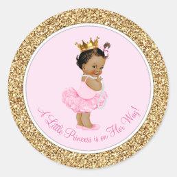 Ethnic Ballerina Princess Pink Gold Baby Shower Classic Round Sticker