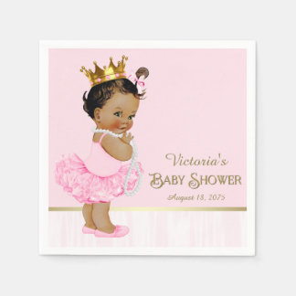 Ethnic Ballerina Princess Pink Gold Baby Shower Napkin
