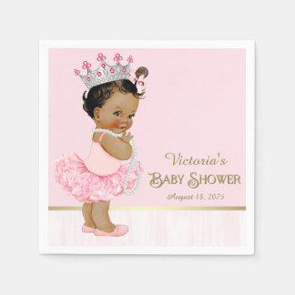 Ethnic Ballerina Princess Pink Gold Baby Shower Napkin