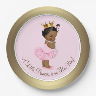 Ethnic Ballerina Princess Pink Gold Baby Shower Paper Plate