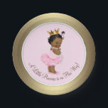 "Ethnic Ballerina Princess Pink Gold Baby Shower Paper Plate<br><div class=""desc"">Pink and gold African American princess tutu baby shower paper plates with adorable ethnic princess baby girl wearing a tutu and string of pearls on a pink and gold background. These cute ballerina princess baby shower paper plates can be customized with text in the font style and color of your...</div>"