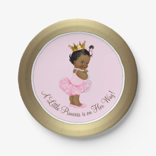 Ethnic Ballerina Princess Pink Gold Baby Shower Paper Plate at Zazzle