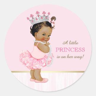 Ethnic Ballerina Princess Tutu Baby Shower Classic Round Sticker