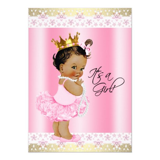 ethnic ballerina tutu baby girl shower 5x7 paper invitation card