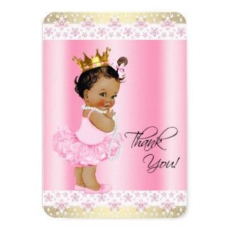 Ethnic Ballerina Tutu Baby Girl Thank You 3.5x5 Paper Invitation Card