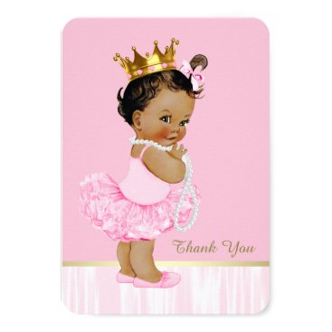 Ethnic Ballerina Tutu Baby Shower Thank You Card